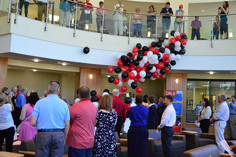 An official balloon drop at the end of the Natali Student Center's rededication ceremony on Wednesday highlighted the completion of the facility's major two-year renovation project. The rededication was held in the dramatic new Heritage Lounge, the rotunda that now is a signature feature of the building.