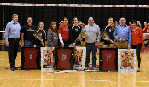 The three seniors for the 2015 Vulcan Volleyball team played an integral part getting the Vulcans back to the PSAC playoffs