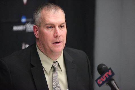 New Cal U Head Football Coach Gary Dunn speaks to those in attendance at his press conference Friday afternoon