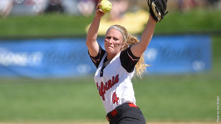 Freshman Taylor Robblee, who helped pitch against Slippery Rock on April 17.