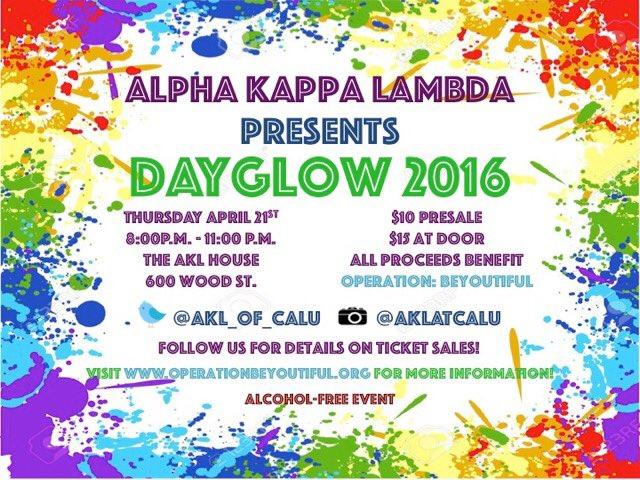 Alpha Kappa Lambda hosted their third annual DayGlow, and raised enough funds to provide two girls suffering from hair loss with wigs.