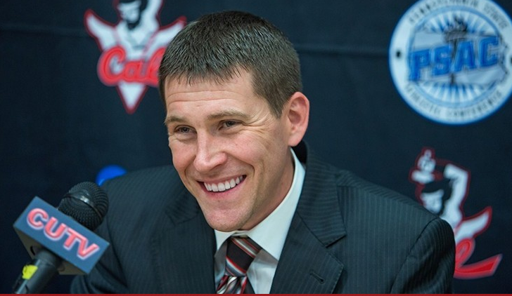 Kent McBride was announced as head men's basketball coach at California University of Pennsylvania during a news conference held at the Natali Student Center on June 2, 2016   (Photo courtesy Cal U public relations)
