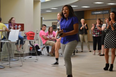 Lakijai Bynum shows her excitement when she was announced as part of the homecoming court.