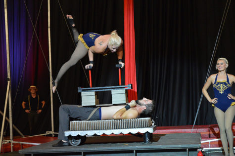 Cincinnati Circus Company performing one of their balancing acts on top of a bed of nails.