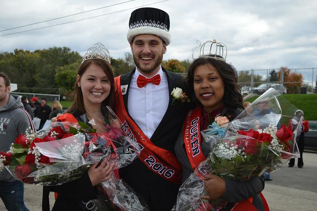 2016 Homecoming King, Jonathan Hershey, and Queens, Lakijai Bynum and Samantha Middlemiss.