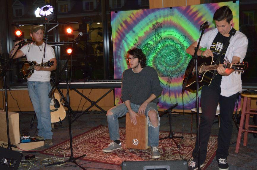 Cal U Alumni Sam Stuckey, Steve Weinstein and Taylor Overly perform at the Underground Cafe: Throwback Night.