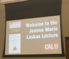 Jeanne Marie Laskas lecture welcome sign.