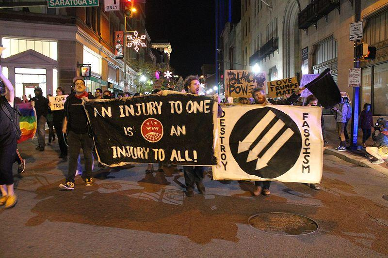 Protesters rally against Donald Trump in Baltimore on Nov. 10 after Trump won the presidential election.