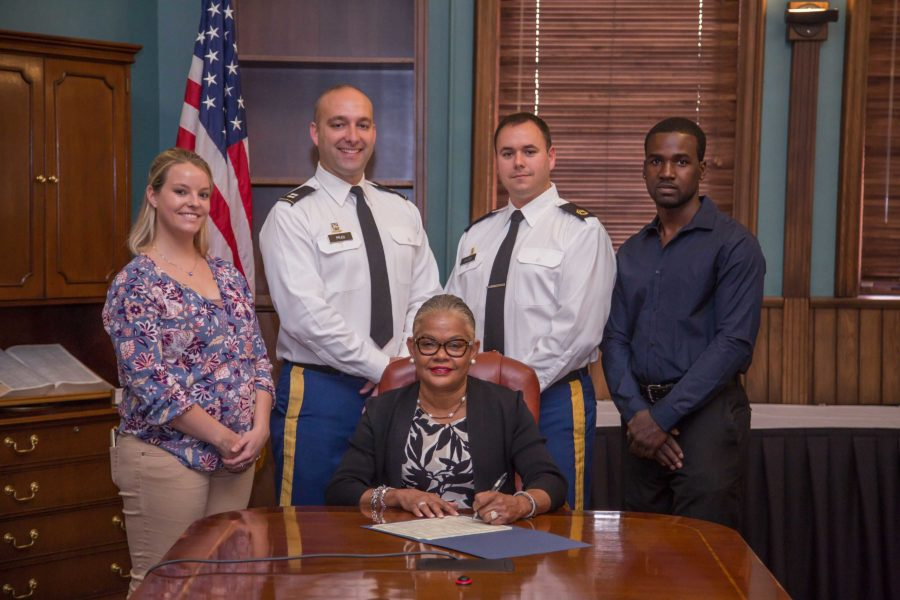 """Cal U President Jones signed a proclamation recognizing Nov. 7-11 as """"Military and Veterans Appreciation Week"""""""