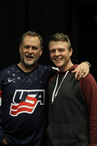 Dave Coulier and Derrick Knopsnyder after their performances at Cal U.