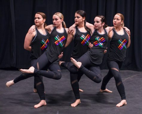 Members of the Cal U Dance Ensemble from Left to Right: Meagan Goben (Forest City, Pa.), Taylor Frost (Adah, Pa.), Laura Cook (Pittsburgh, Pa.), Marissa Badura (Butler, Pa.), Mackenzie Moore (Beallsville, Pa.)