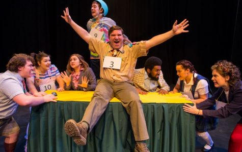 The cast of The 25th Annual Putnam County Spelling Bee gets into character.