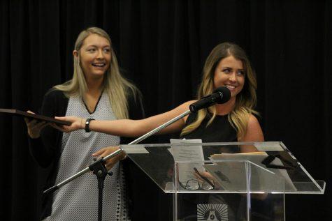 Rachel Michaels presents Katelyn Kendra with the Options @ Cal U award.