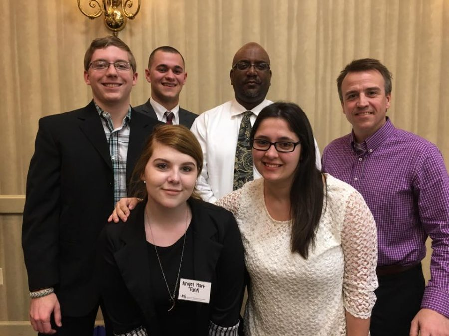 Front row: Angel Funk and Rachael McKriger. Back row: Taylor Barta, Daniel Beeck, Dr. Anthony Carlisle and Jeff Helsel