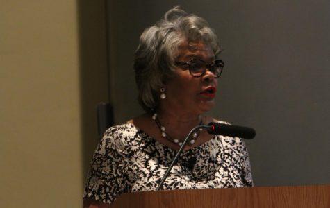 President Geraldine M. Jones of California Univ. of Pennsylvania speaks at Campus Talk.