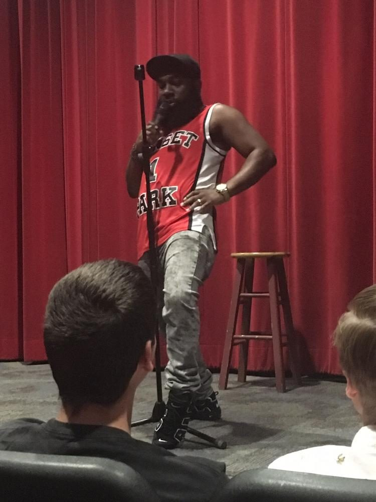 T. Murph performs a comedy sketch routine at the Vulcan Theater on Friday, Sept. 8. The event was sponsored by S.A.B.