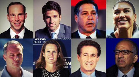 From left to right, top row first, the candidates of U.S. Soccer presidential election: Michael Winograd, Kyle Martino, Paul Caligiuri, Hope Solo, (bottom row, left to right) Eric Wynalda, Kathy Carter, Steve Gans and Carlos Cordeiro.