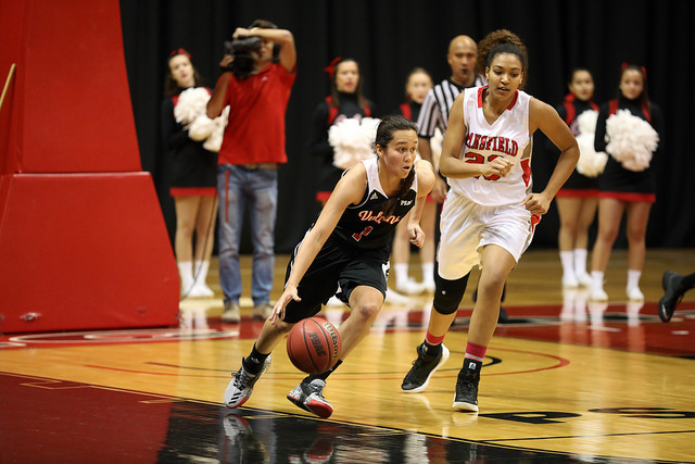 Photo of Bianca Jasper against Mansfield University courtesy of Jeff Helsel, SAI.