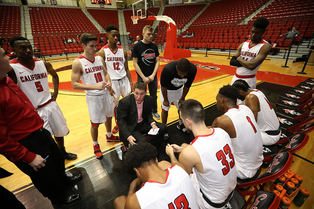 Photo of the California Vulcans men's basketball team courtesy of Jeff Helsel, SAI.