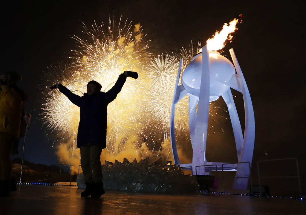 This photo was taken during the Opening Ceremony during the Pyeongchang Winter Olympics. Photo courtesy of David J. Phillip/Associated Press.