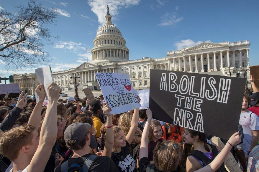 Photo of students from Maryland attend a rally in opposition to the NRA. Photo courtesy of the Associated Press.