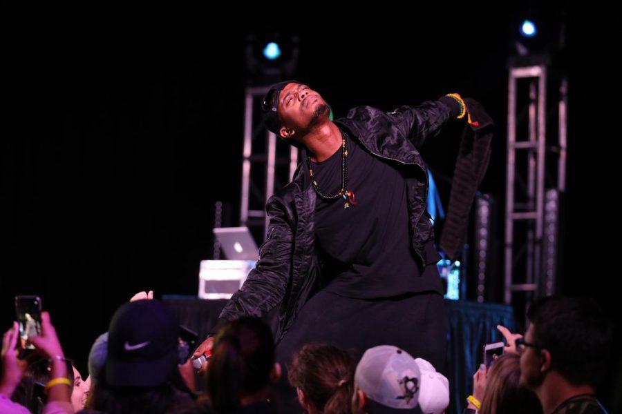 B.o.B performs at California University of Pennsylvania.