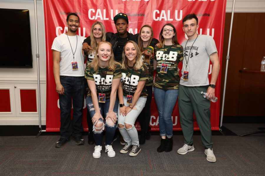 The Student Activities Board Executive Board with B.o.B following his performance at Cal U, April 23, 2018.