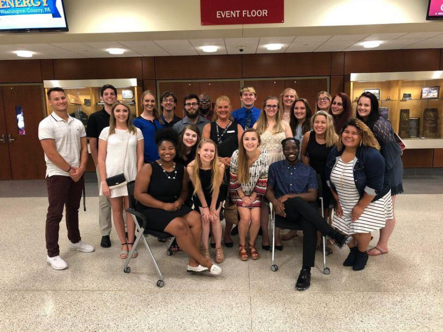 (Aug. 26, 2018) Student assistants from Cal U's Move-in Day Weekend 2018 posed for a photo on Sunday evening at the New Student Convocation .