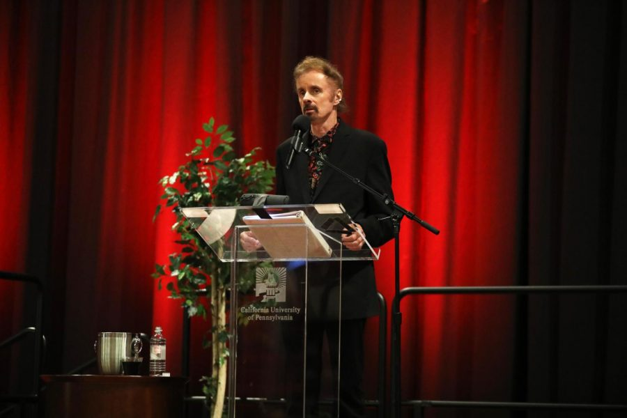 (Sept. 11, 2018). Award-winning novelist T.C. Boyle reading an excerpt from one of his latest works during a presentation at the Convocation Center, California University of Pennsylvania