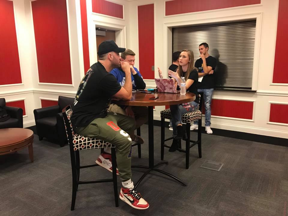 Cal Times Entertainment Editor, Jessica Crosson, and contributor, Doug Glattke, interview rapper Mike Stud post-show.