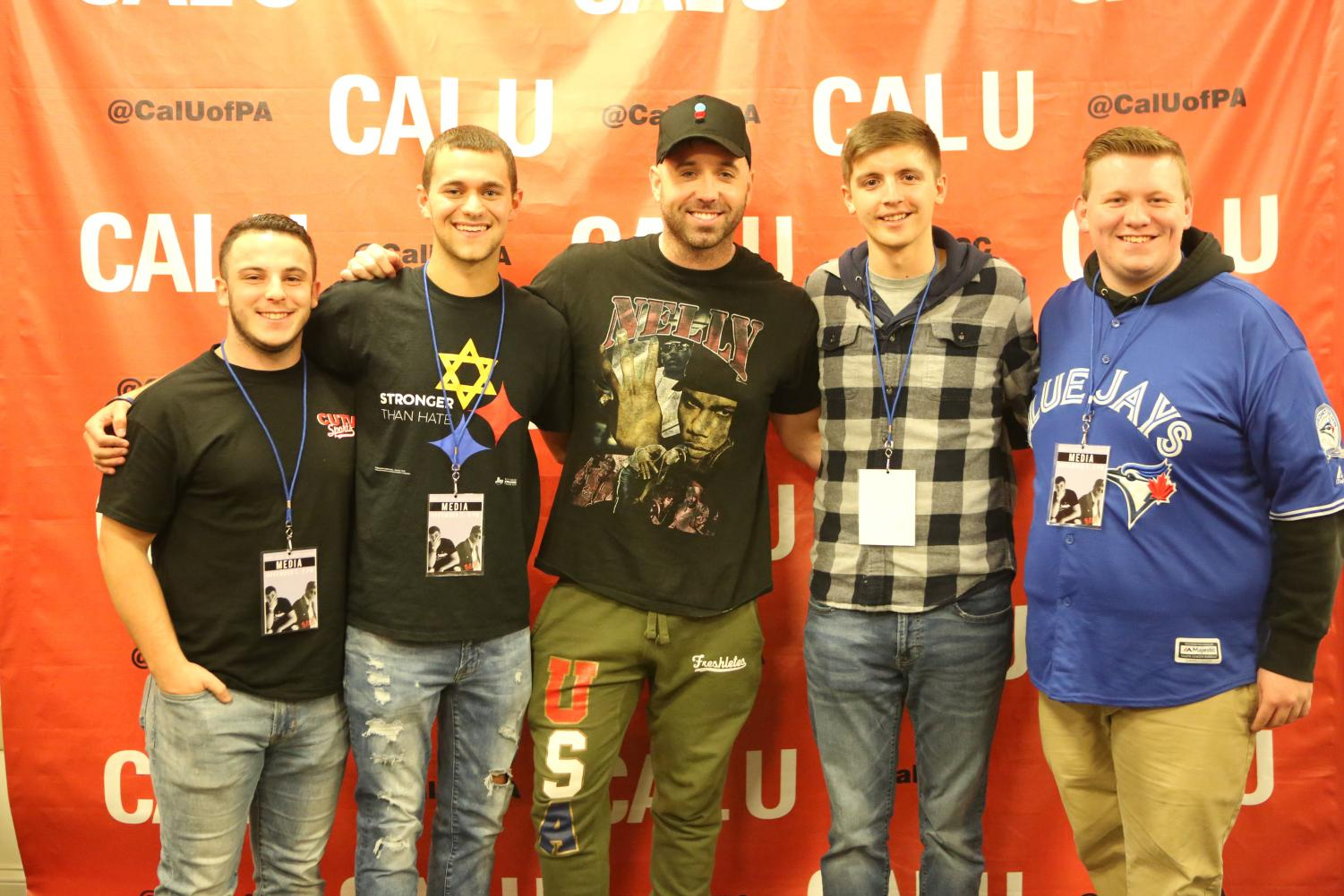 CUTV and Cal Times media staff with Mike Stud post-show.