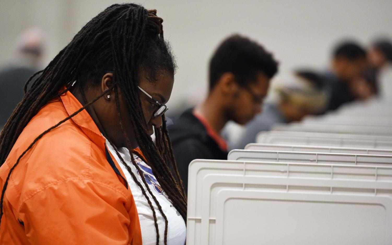 People cast their ballots ahead of the Nov. 6, general election at Jim Miller Park, in Marietta, Ga.