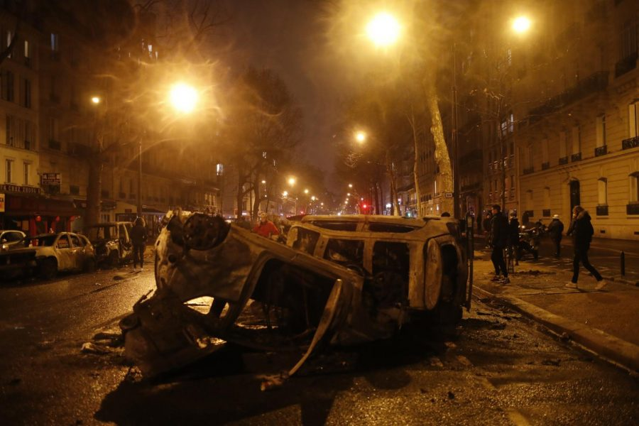 Charred+cars+are+pictured+after+a+demonstration+Saturday%2C+Dec.1%2C+2018+in+Paris.+A+protest+against+rising+taxes+and+the+high+cost+of+living+turned+into+a+riot+Saturday+in+Paris+as+police+fired+tear+gas+and+water+cannon+in+street+battles+with+activists+wearing+the+fluorescent+yellow+vests+of+a+new+movement.