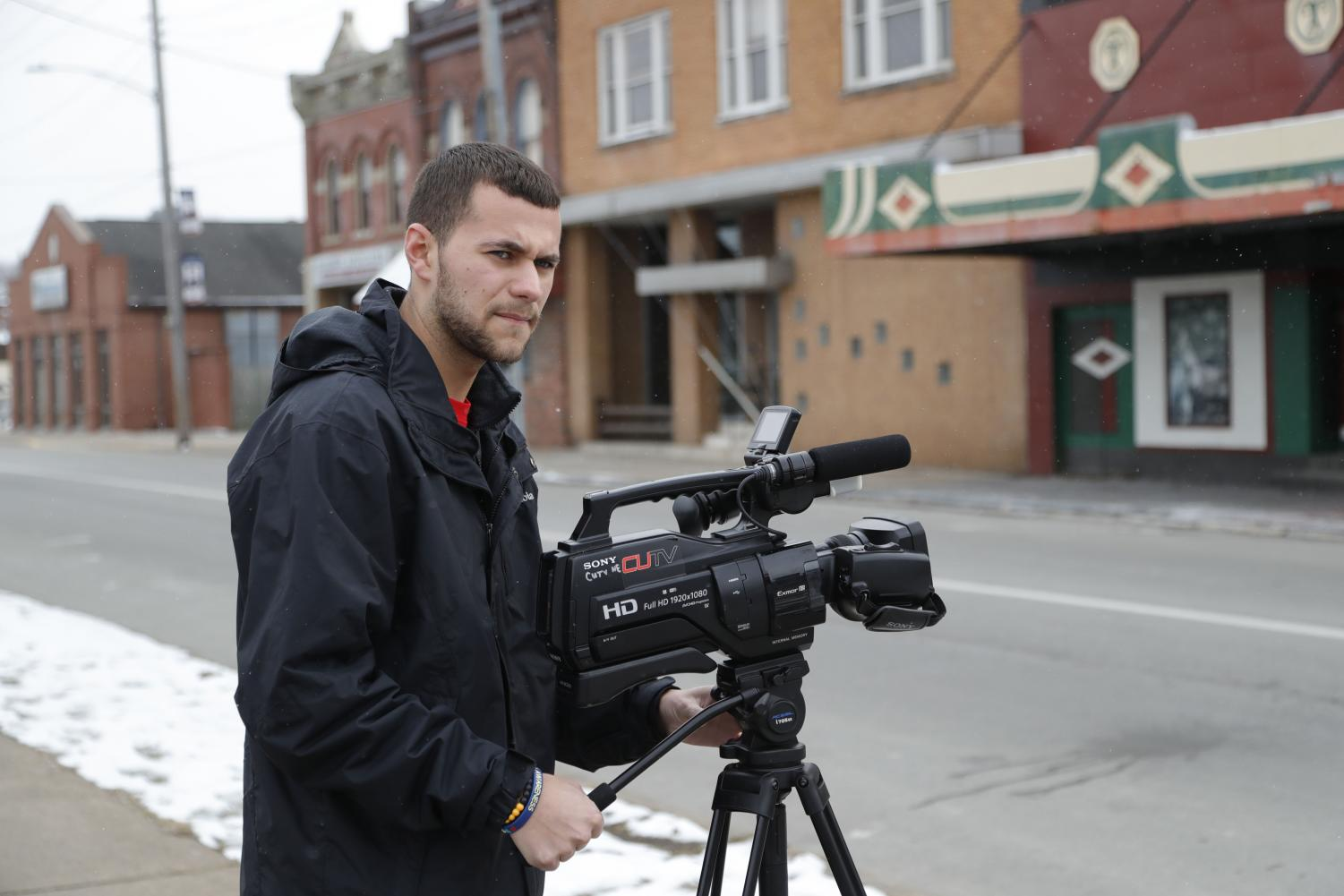 CUTV News Anchor and Cal Times Editor-in-Chief Danny Beeck shoots a story at the historic Coyle Theater in Charleroi, Pa.