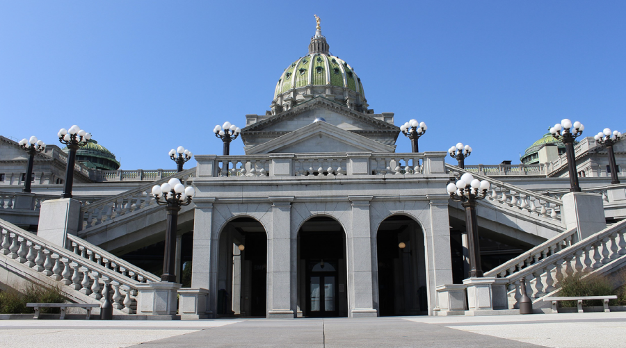 View of the front of the Pennsylvania State Capitol building, Harrisburg, Pa.