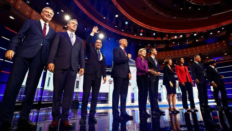 The Democratic primary candidates for President at the first debate.