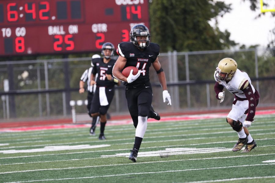Cal+U+senior+wide+receiver+Jordan+Dandridge+led+all+players+with+88+receiving+yards+on+five+catches+during+the+football+game+versus+Kutztown+University+at+Adamson+Stadium+on+Sept.+14%2C+2019