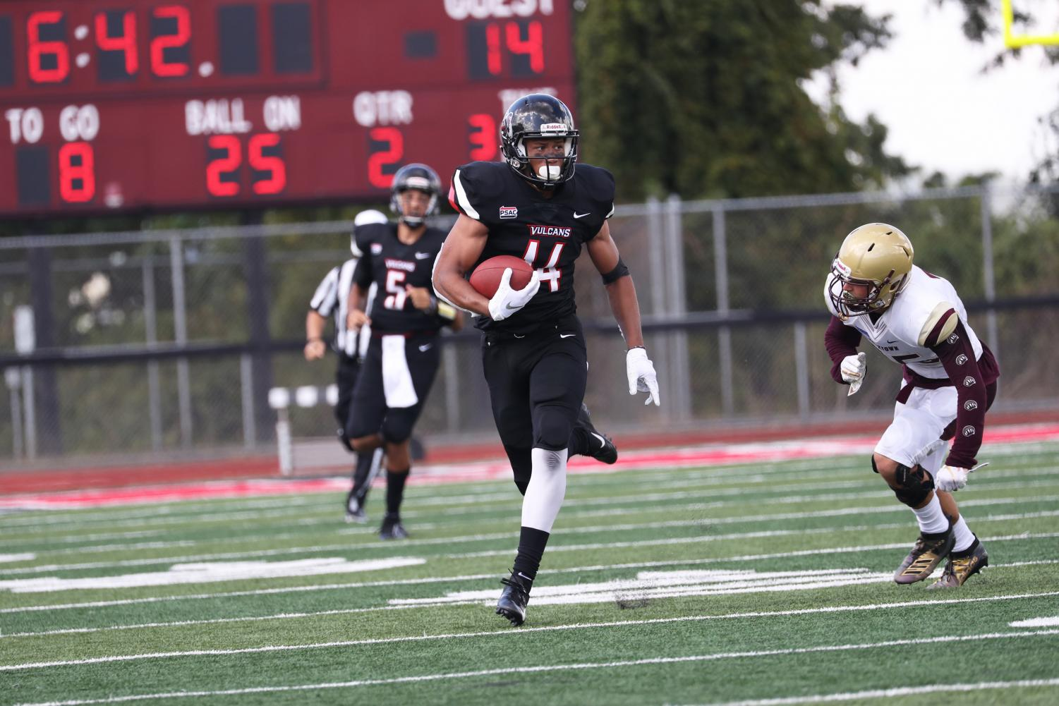 Cal U senior wide receiver Jordan Dandridge led all players with 88 receiving yards on five catches during the football game versus Kutztown University at Adamson Stadium on Sept. 14, 2019