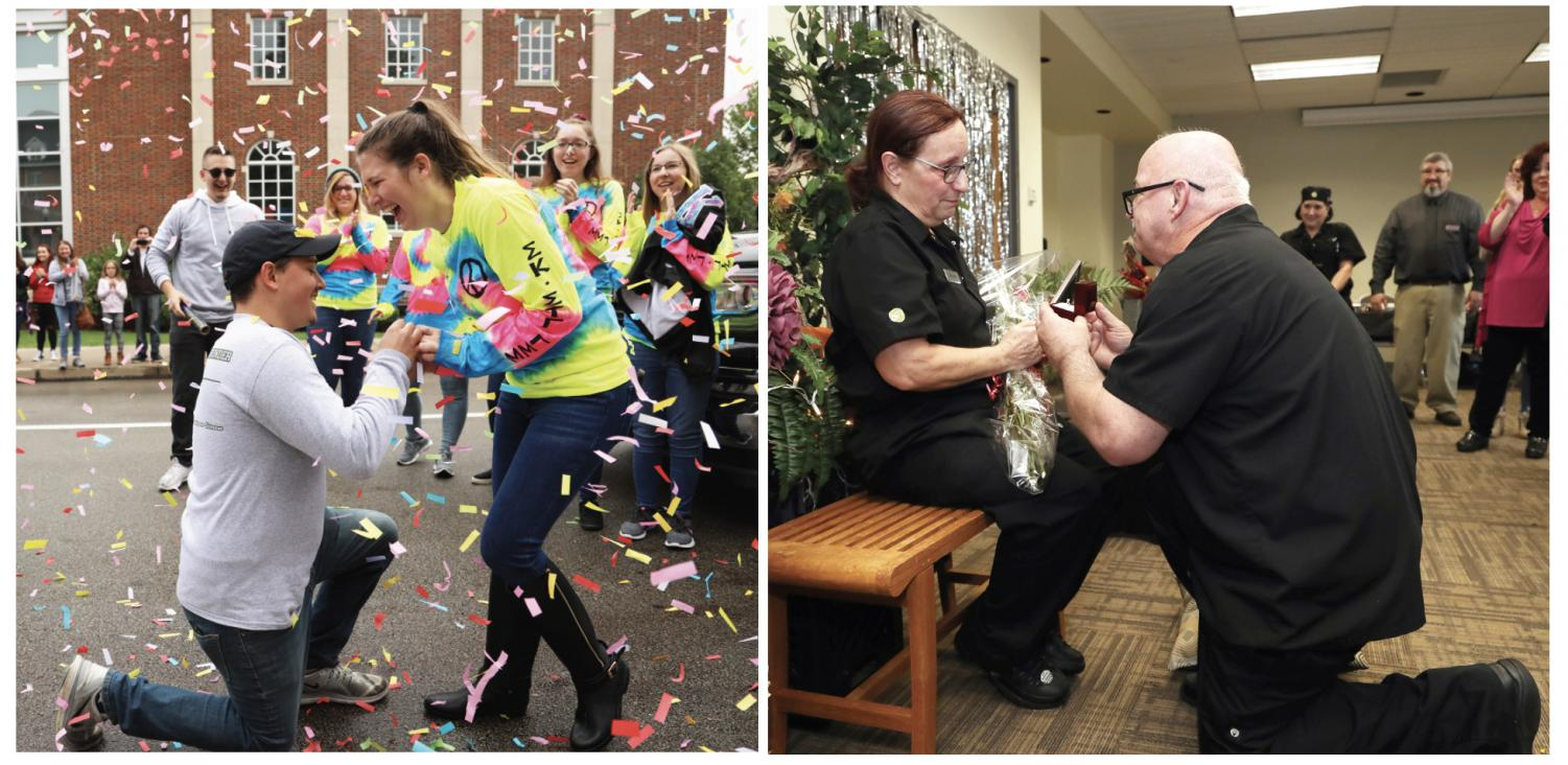 Cal U campus was buzzing with the news about two surprise engagements. On left, Cal U student Nick Bishop proposed to McKenna Ferris at Cal U's Homecoming parade Oct. 12, 2019.   On right, Joe Hepple proposed to Beth Ann Bentz at a reception for AVI staff members on Nov. 26, 2019.