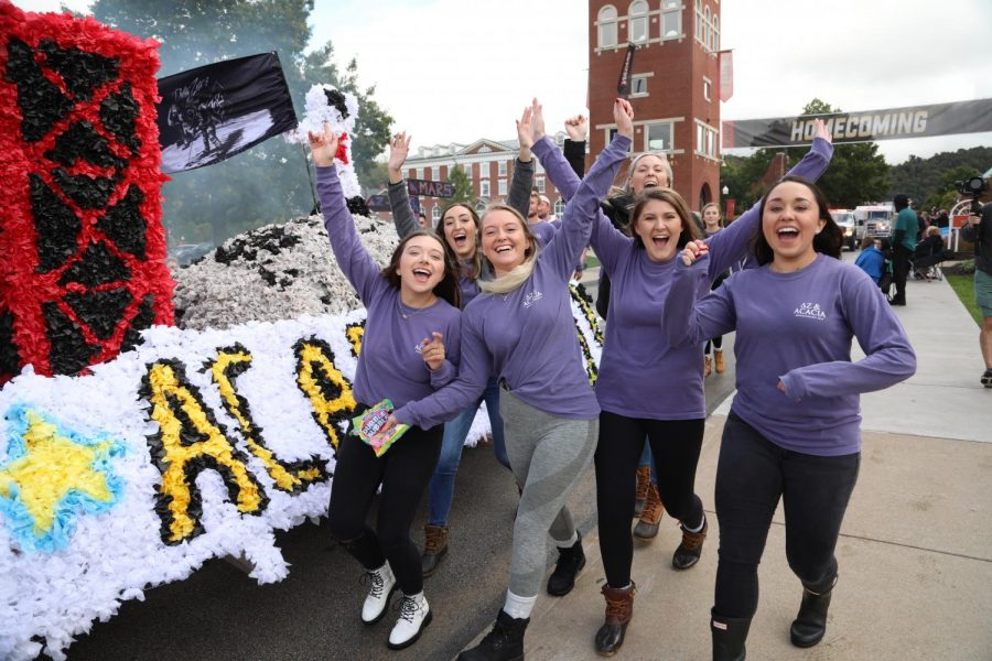 Delta+Zeta+sorority+and+Acacia+fraternity+teamed+up+to+make+a+float+for+the+Cal+U+Homecoming+Parade%2C+Oct.+12%2C+2019.