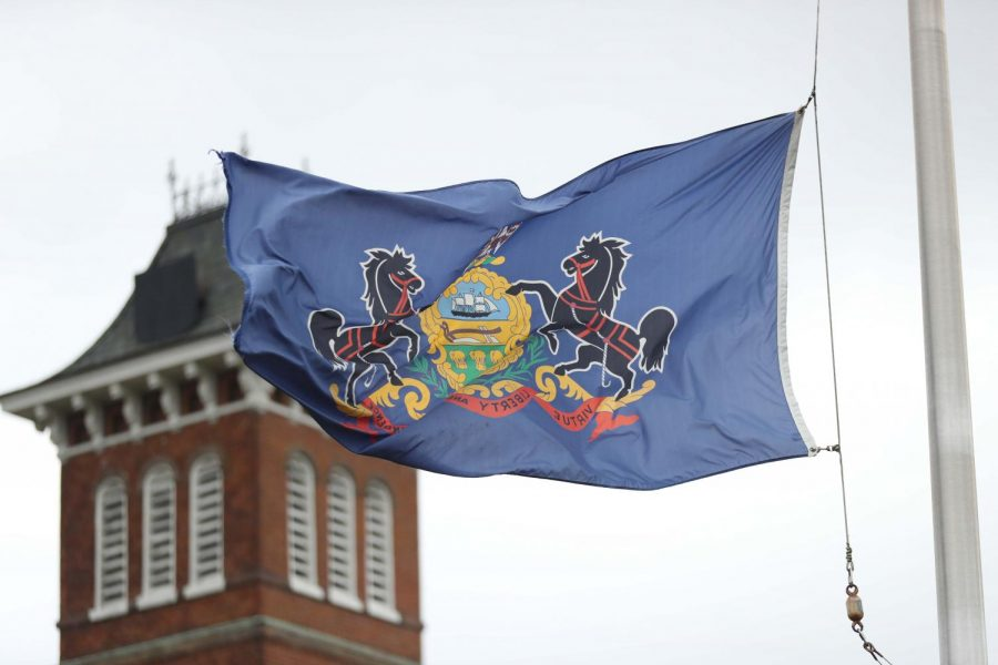 The state flag of Pennsylvania flies at half-staff at the Cal U campus on April 8, 2020 after Gov. Tom Wolf orders all commonwealth flags at all commonwealth facilities fly at half-staff to honor the victims of COVID-19