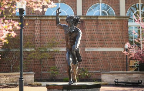 The 12-foot-tall statue of Vulcan, the Roman god of fire and California University of Pennsylvania's mascot, in the Quad at the center of campus, April 27, 2020.