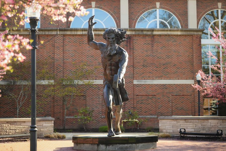 The+12-foot-tall+statue+of+Vulcan%2C+the+Roman+god+of+fire+and+California+University+of+Pennsylvania%27s+mascot%2C+in+the+Quad+at+the+center+of+campus%2C+April+27%2C+2020.