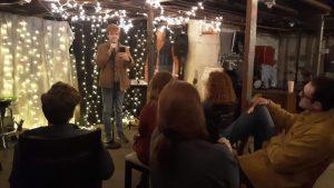 Jeromy Mackey performing in The Basement at California University of Pennsylvania