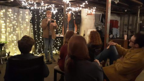 "Jeromy Mackey performing in ""The Basement"" at California University of Pennsylvania"