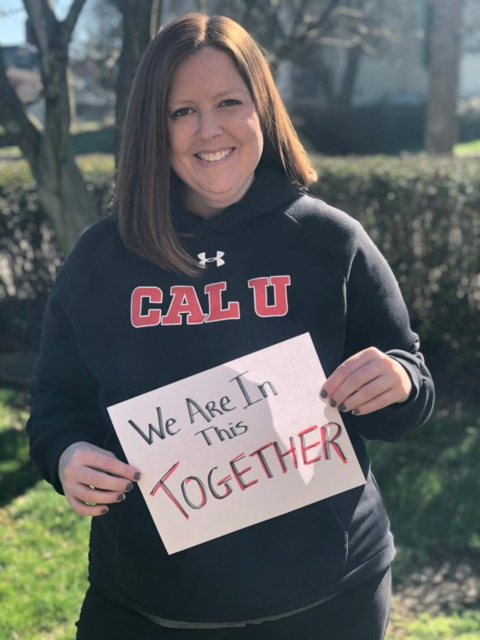 Becky+McMillen%2C+executive+director+of++Conference+Services+at+Cal+U%2C+displays+a++%22sign+of+strength%22+for+the+Student+Affairs+%23CalUTogether+video%2C+April+1%2C+2020