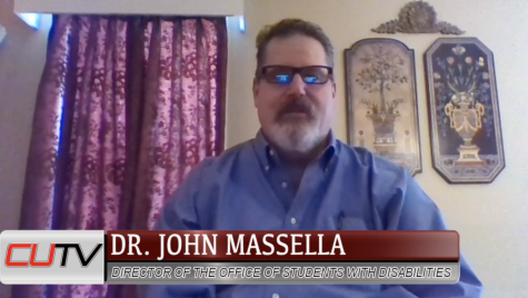 Dr. John Massella, associate professor and director of the Office for Students with Disabilities, talks  from his home office as a guest speaker on CUTV