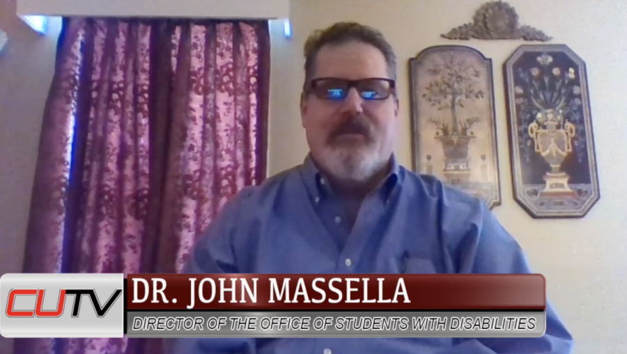 Dr.+John+Massella%2C+associate+professor+and+director+of+the+Office+for+Students+with+Disabilities%2C+talks++from+his+home+office+as+a+guest+speaker+on+CUTV%27s+%22Cal+U+Connections.%22