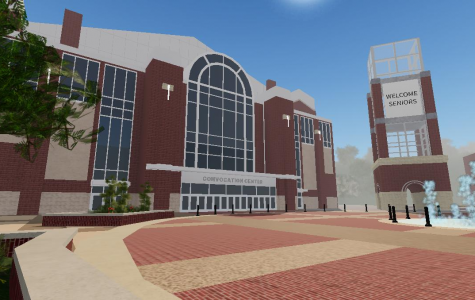 Cal U Senior Paul MacLean's computer generated animation of the Convocation Center was created in Roblox so computer science graduates can experience a