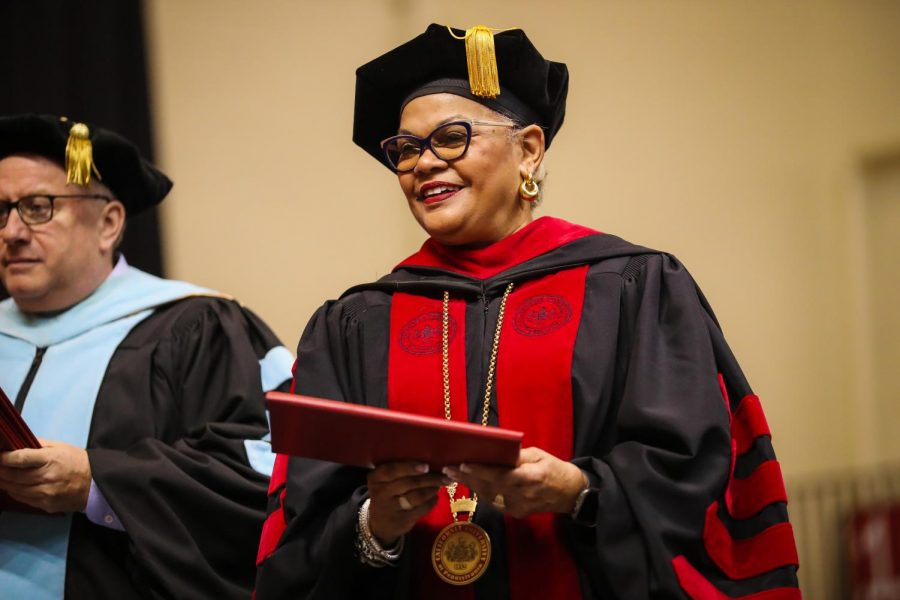 (FILE) University President Geraldine M. Jones on stage to present diplomas during the  undergraduate commencement ceremony in the Cal U Convocation Center, Dec. 14, 2019.